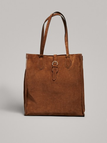 SPLIT SUEDE TOTE BAG