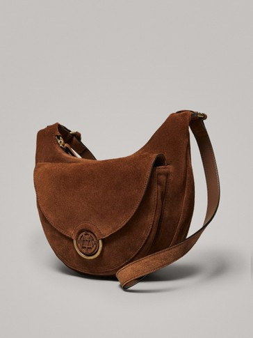ZIPPED SPLIT SUEDE CROSSBODY BAG