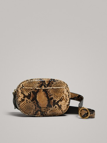 SNAKESKIN-EFFECT LEATHER BELT BAG