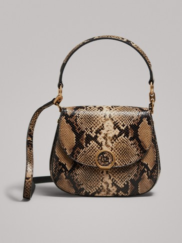 SNAKESKIN EFFECT LEATHER BAG WITH TOP HANDLE
