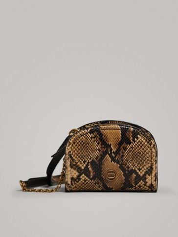 SNAKESKIN EFFECT LEATHER CROSSBODY BAG WITH CHAIN
