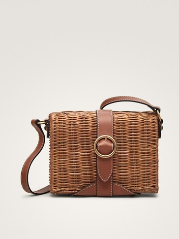 LEATHER AND RATTAN CROSSBODY BAG WITH BUCKLE