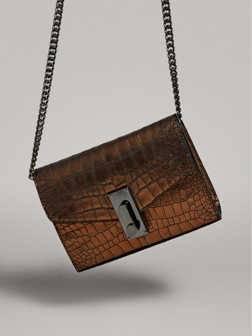 BLACK CLUTCH MOCK CROC BAG WITH SHOULDER CHAIN