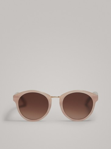 ROUND PINK SUNGLASSES WITH METAL DETAIL