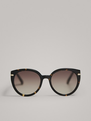 TORTOISESHELL AND METAL CAT EYE SUNGLASSES