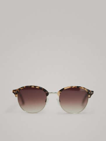 ROUND TORTOISESHELL AND METAL SUNGLASSES
