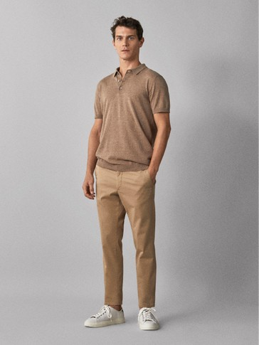 SLIM FIT COTTON CHINO TROUSERS