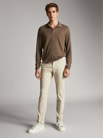SLIM FIT DYED TEXTURED TROUSERS