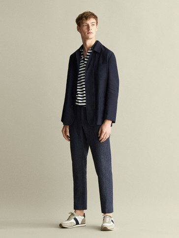SLIM FIT MELANGE LINEN AND COTTON TROUSERS IN CHECK TEXTURE
