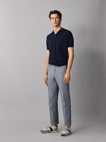 SLIM FIT HERRINGBONE COTTON CHINO TROUSERS