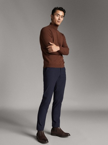 SLIM FIT MICRO CHECK CHINOS