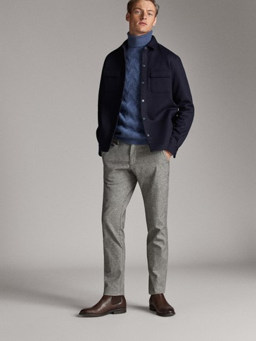 SLIM FIT HEATHERED OXFORD CHINOS