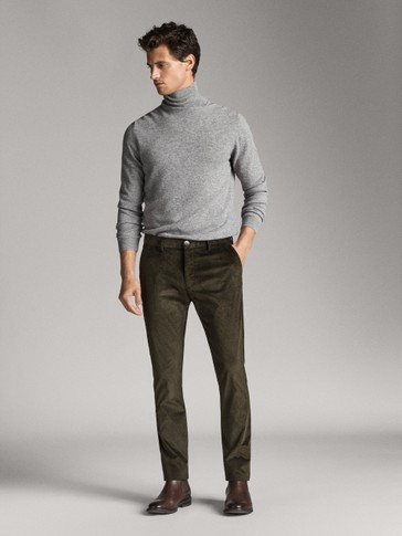 SLIM FIT CORDUROY CHINO TROUSERS