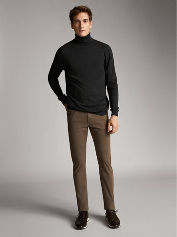 SLIM FIT FINE GABARDINE TEXTURED WEAVE DENIM-EFFECT TROUSERS