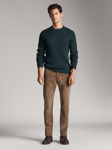 SLIM FIT CORDUROY DENIM-LIKE TROUSERS
