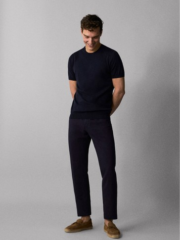 PANTALONI SLIM FIT TIPO DENIM IN LINO E COTONE