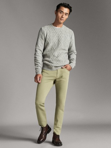 SLIM FIT DENIM-LIKE COTTON AND LINEN TROUSERS