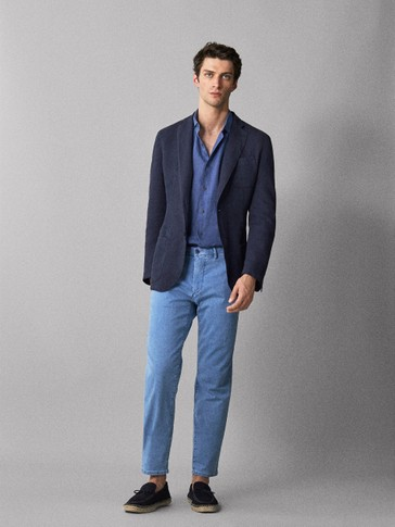 SLIM FIT COTTON DENIM TROUSERS