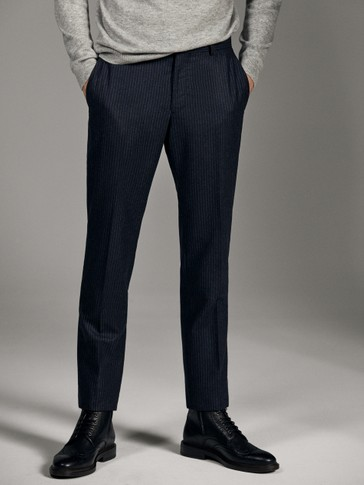 LIMITED EDITION SLIM FIT PINSTRIPE WOOL TROUSERS