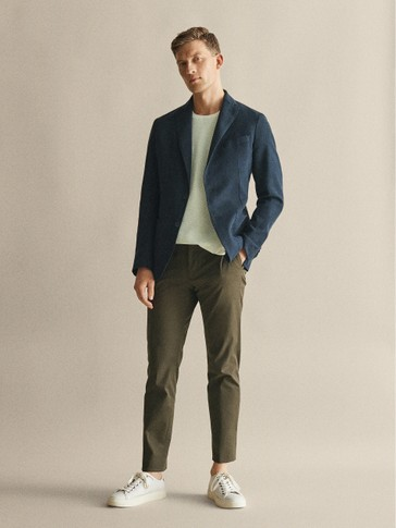 CASUAL FIT COTTON TWILL TROUSERS