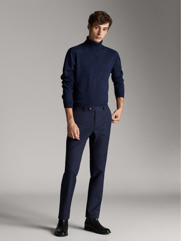 SLIM FIT NAVY HERRINGBONE TROUSERS