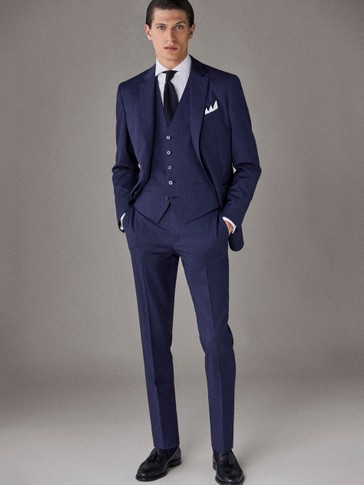CITY SLIM FIT NAVY BLUE TEXTURED WOOL TROUSERS