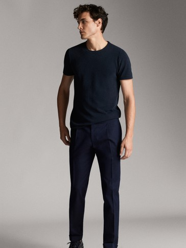 SLIM FIT NAVY BLUE COTTON TROUSERS