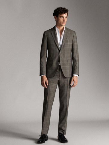 SLIM FIT CHECK WOOL TROUSERS