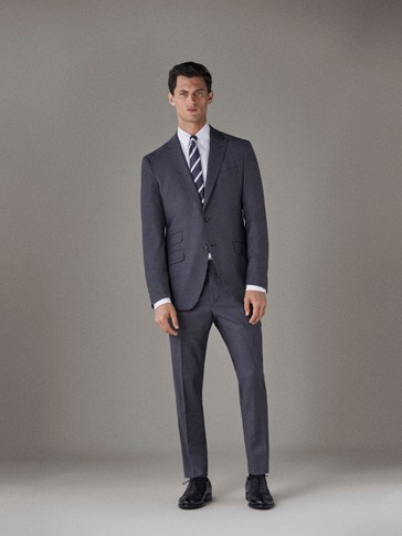 PANTALONI SLIM FIT TRAVEL SUIT DIN LÂNĂ CU STRUCTURĂ