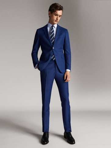 TRAVEL SUIT CITY SLIM FIT TEXTURED WOOL TROUSERS