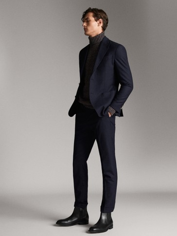 SLIM FIT NAVY WOOL AND FLANNEL TROUSERS