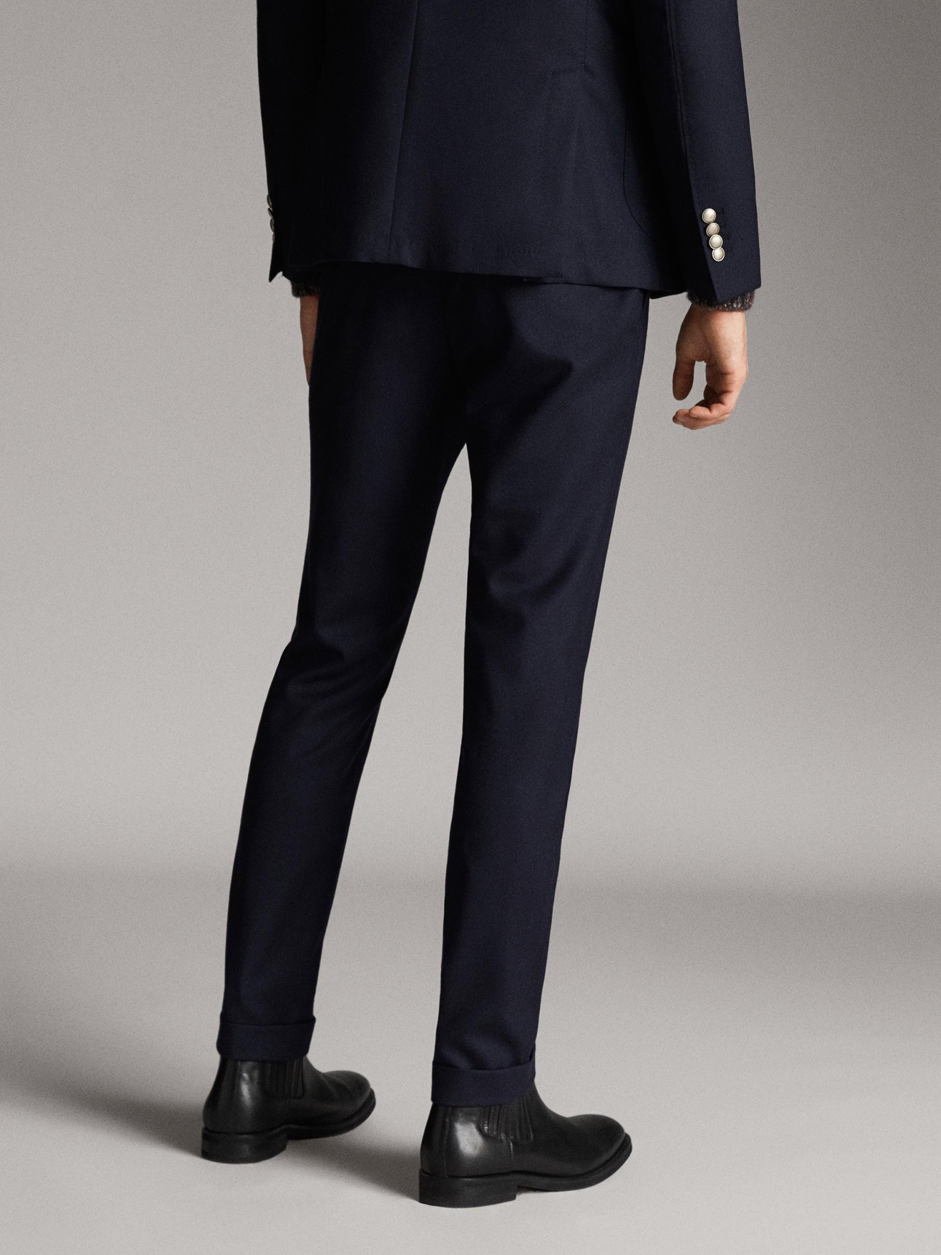 340666e7 marine wollen pantalon met structuur slim fit voor