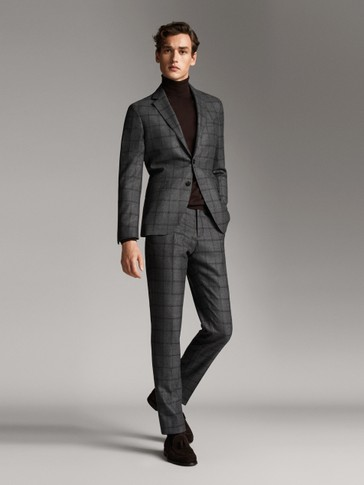 SLIM FIT WOOL CHECK TROUSERS