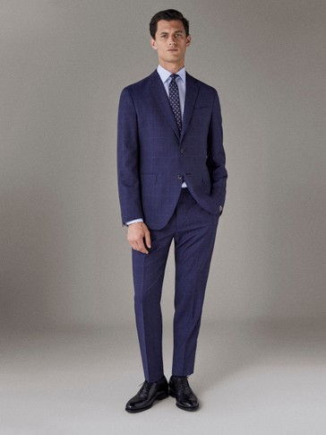 SLIM FIT NAVY BLUE CHECK WOOL TROUSERS
