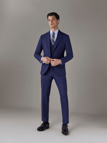 SLIM FIT WOOL SUIT TROUSERS
