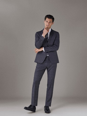 PANTALON LAINE CARREAUX SLIM FIT
