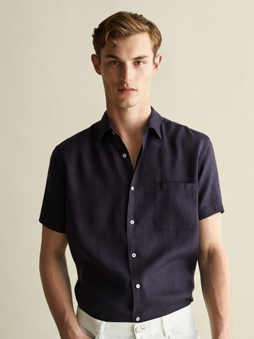 REGULAR FIT DYED 100% LINEN SHIRT