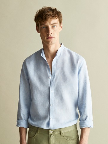 100% LINEN PLAIN SLIM FIT SHIRT