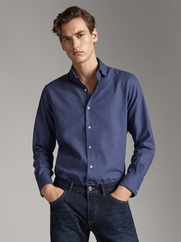 SLIM FIT COTTON TWILL SHIRT