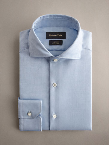 COTTON HERRINGBONE STITCH SLIM FIT EASY IRON SHIRT