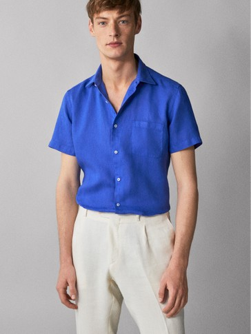 REGULAR FIT 100% LINEN SHIRT WITH POCKET