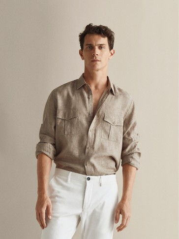 SLIM FIT 100% LINEN SHIRT WITH POCKETS