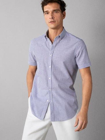 REGULAR FIT STRIPED COTTON AND LINEN SHIRT