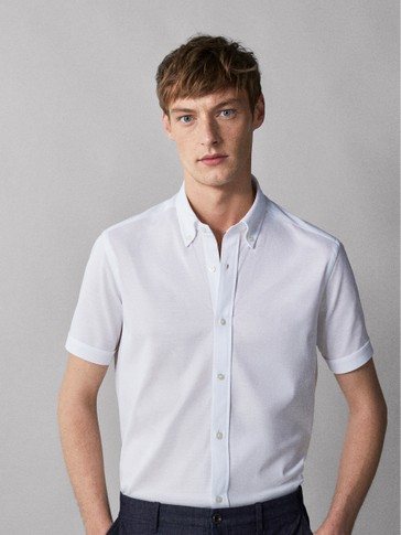 CAMICIA REGULAR FIT IN PIQUÉ