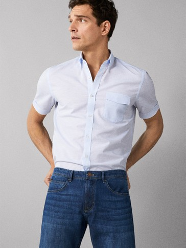 REGULAR FIT PLAIN COTTON AND LINEN SHIRT