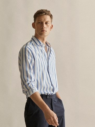 SLIM FIT STRIPED COTTON LINEN SHIRT