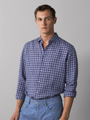 SLIM FIT FADED CHECK 100% LINEN SHIRT