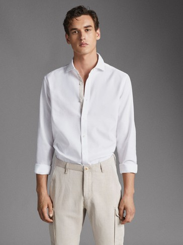 SLIM FIT CONTRAST TEXTURED SHIRT