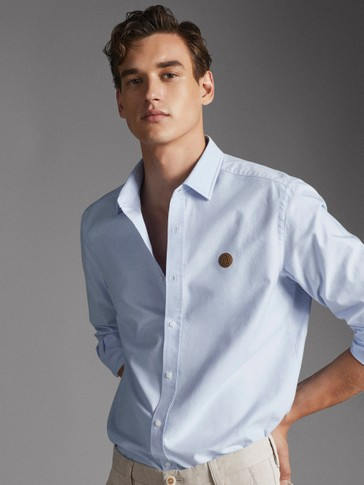 SLIM FIT COTTON OXFORD SHIRT WITH LOGO