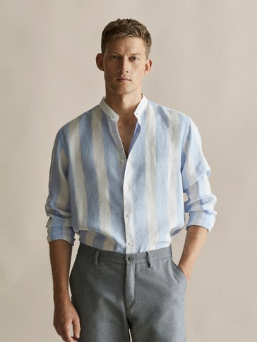 SLIM FIT STRIPED 100% LINEN SHIRT WITH STAND-UP COLLAR